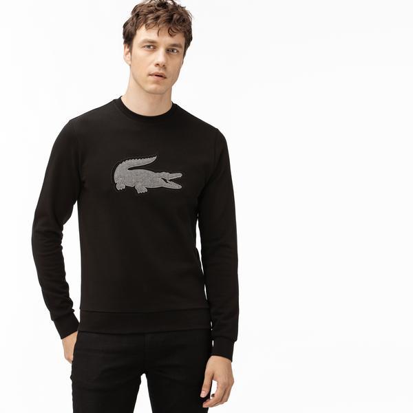 Lacoste Erkek Nakışlı Bisiklet Yaka Siyah Sweatshirt