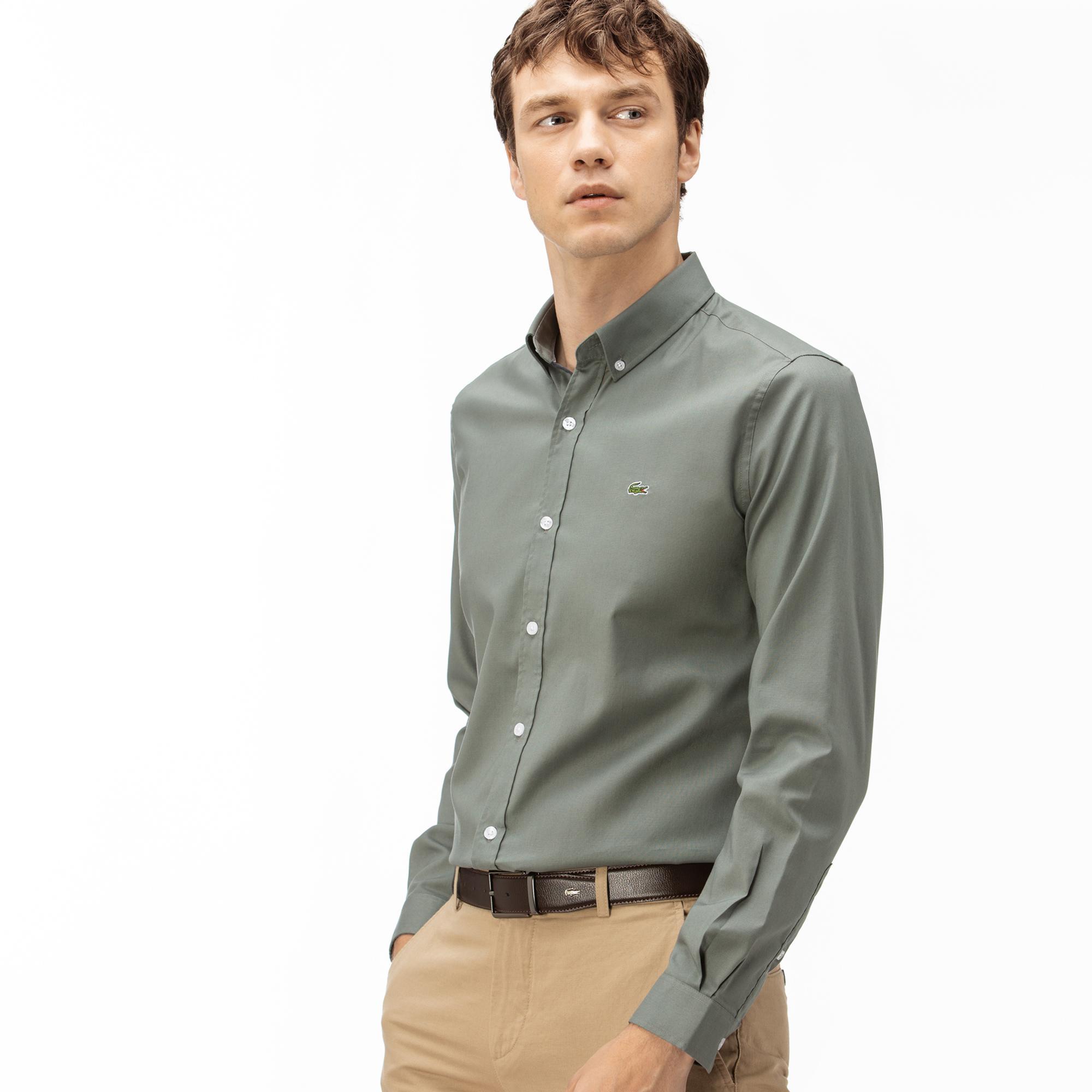 Lacoste Erkek Slim Fit Haki Gömlek