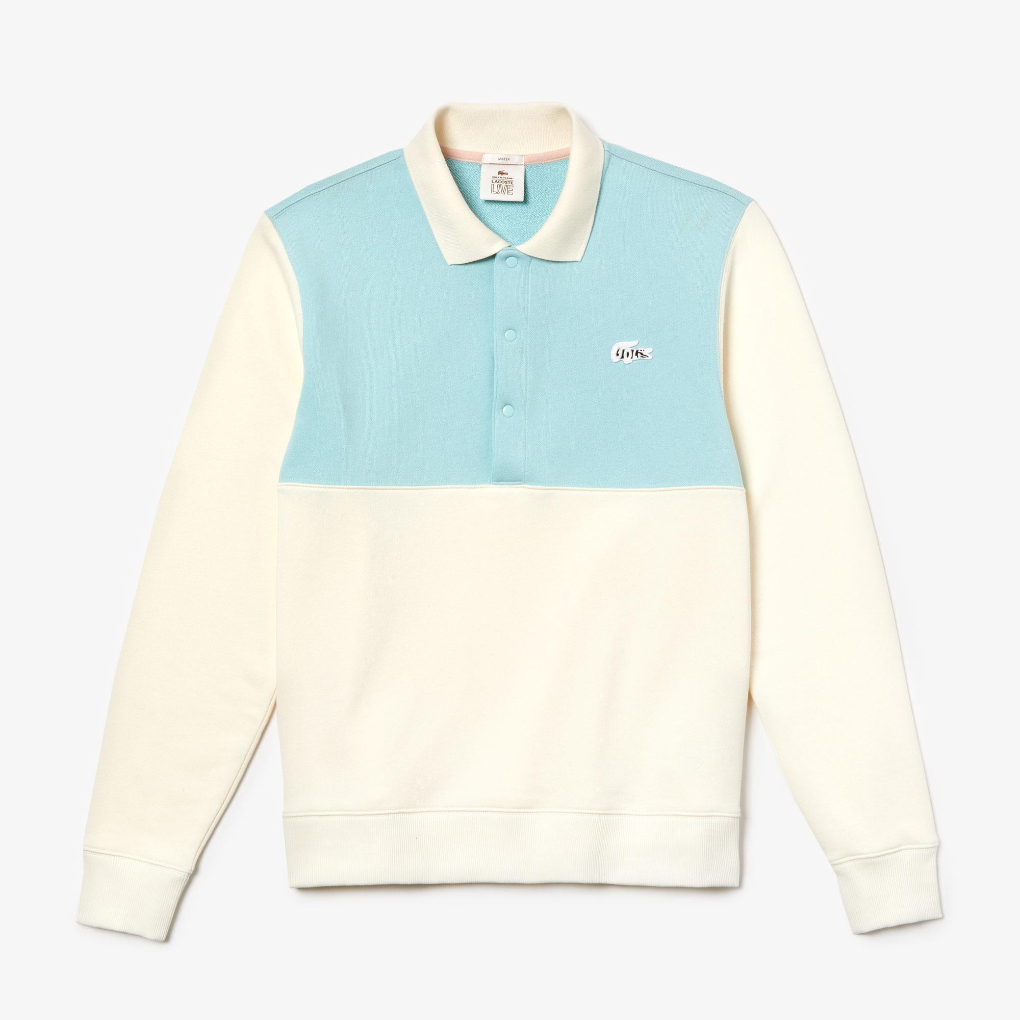 Lacoste X GOLF le FLEUR Unisex Loose Fit Blok Desenli Polo Yaka Bej - Mavi Sweatshirt