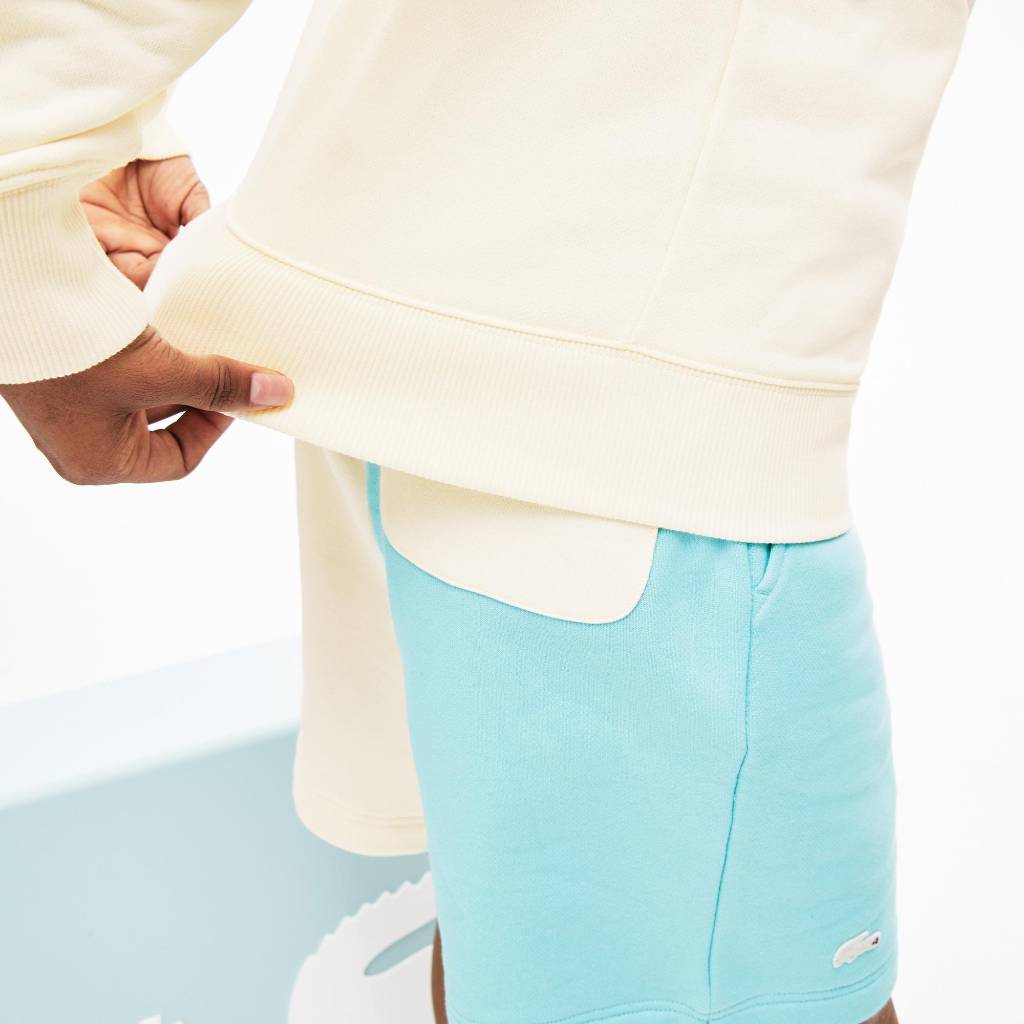 Lacoste X GOLF le FLEUR Unisex Loose Fit Blok Desenli Polo Yaka Pembe - Bej Sweatshirt