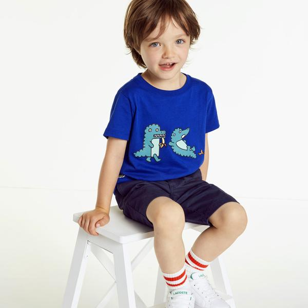Lacoste Çocuk Desenli Mavi T-Shirt