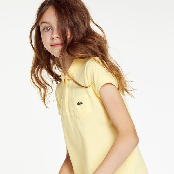 Lacoste Çocuk Polo Yaka Sarı Elbise