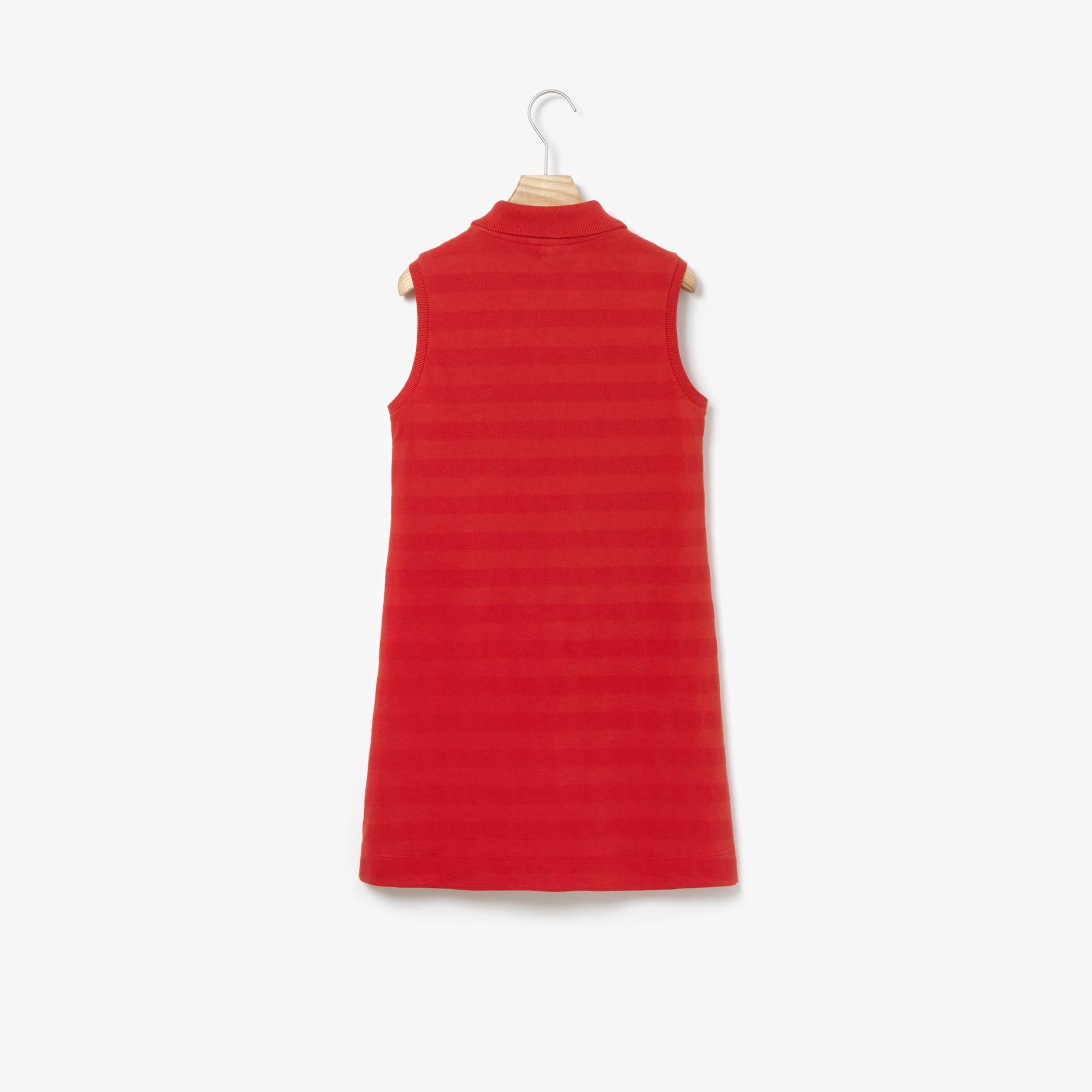 Lacoste Çocuk Çizgili Kolsuz Polo Yaka Kırmızı Elbise