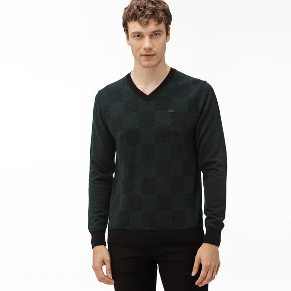 Lacoste Erkek V Yakalı Yeşil-Siyah Triko Kazak