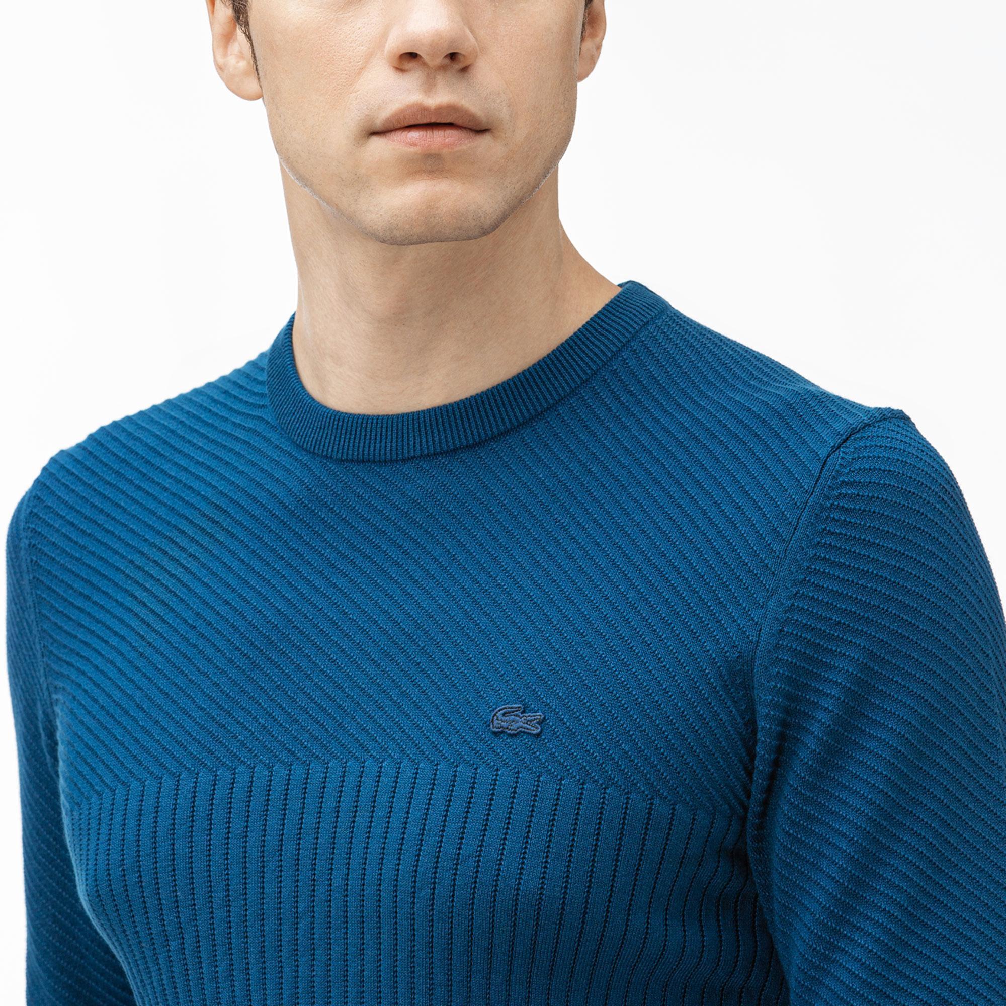 Lacoste Erkek Mavi Triko Kazak