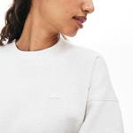 Lacoste Kadın Bisiklet Yaka Beyaz Sweatshirt
