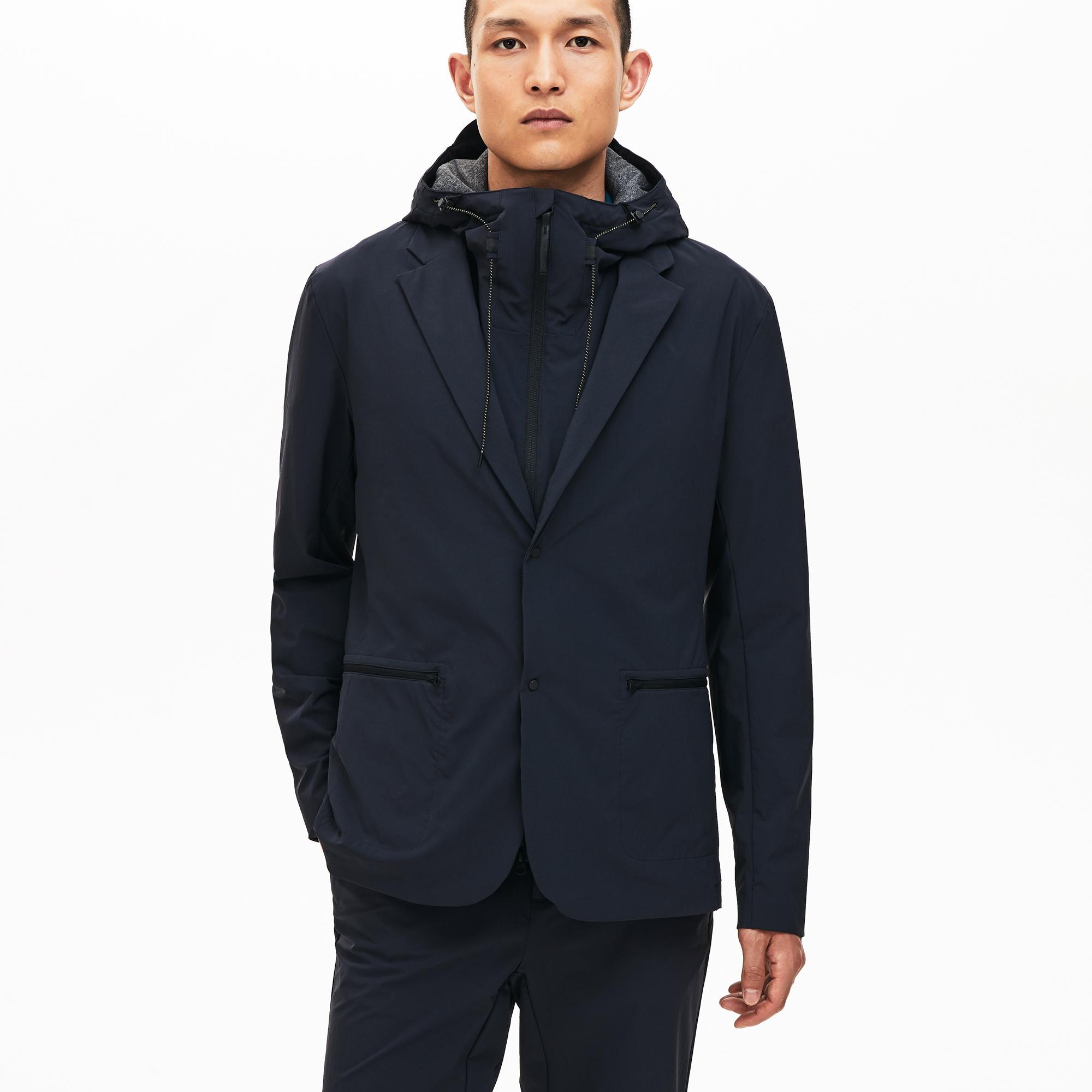 Lacoste Motion Erkek Koyu Gri Kapüşonlu 3 Farklı Kullanımlı Yağmurluk/Ceket