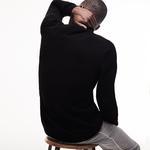 Lacoste Erkek Siyah Klasik Fit Dik Yaka Fermuarlı Triko Kazak