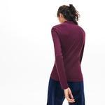 Lacoste Kadın Slim Fit Uzun Kollu Mor Polo