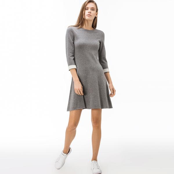 Lacoste Kadın Kaşmir Karışımlı Truvakar Kollu Gri Elbise
