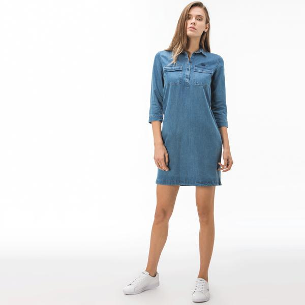 Lacoste Kadın Mavi Denim Elbise