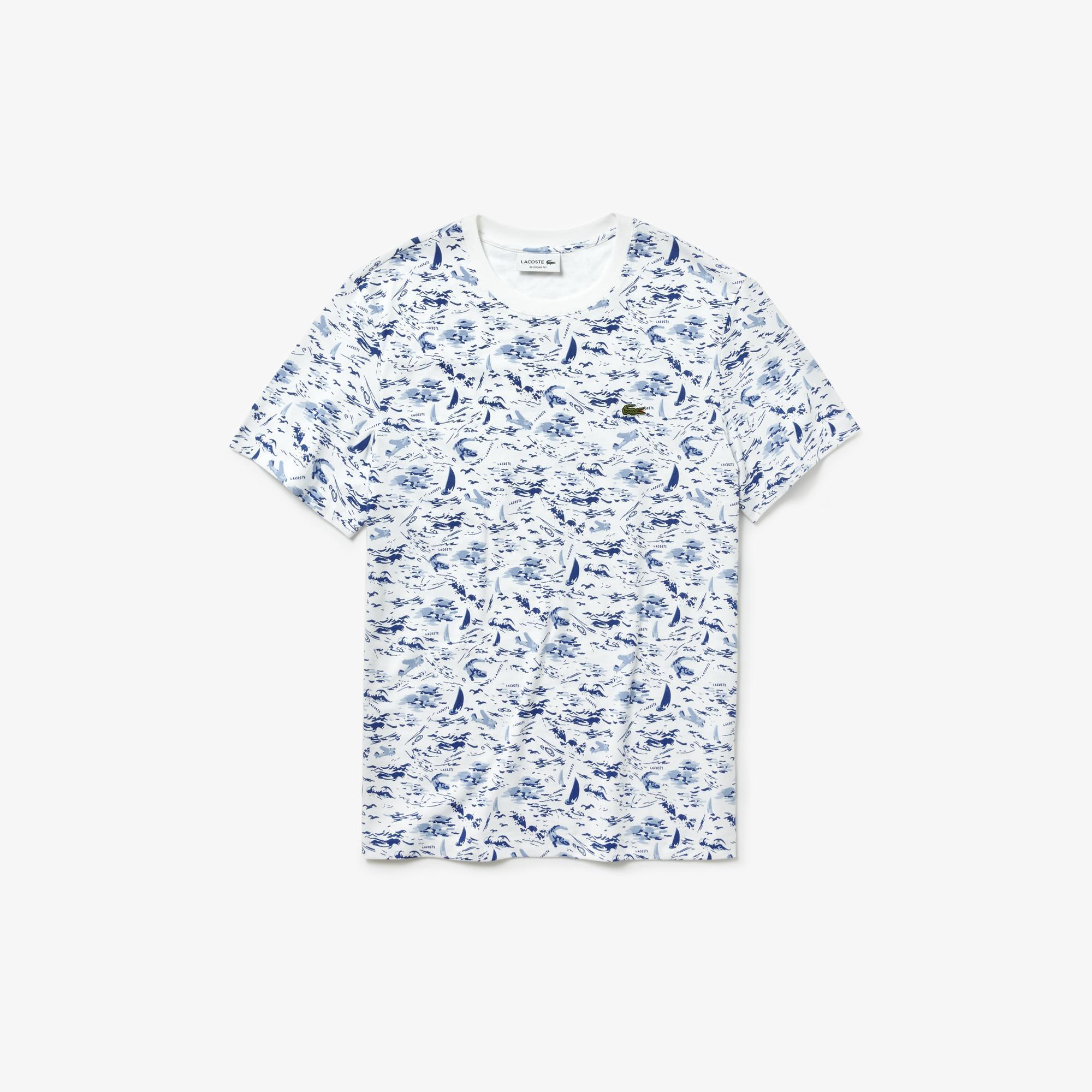 Lacoste Erkek Desenli Beyaz T-Shirt