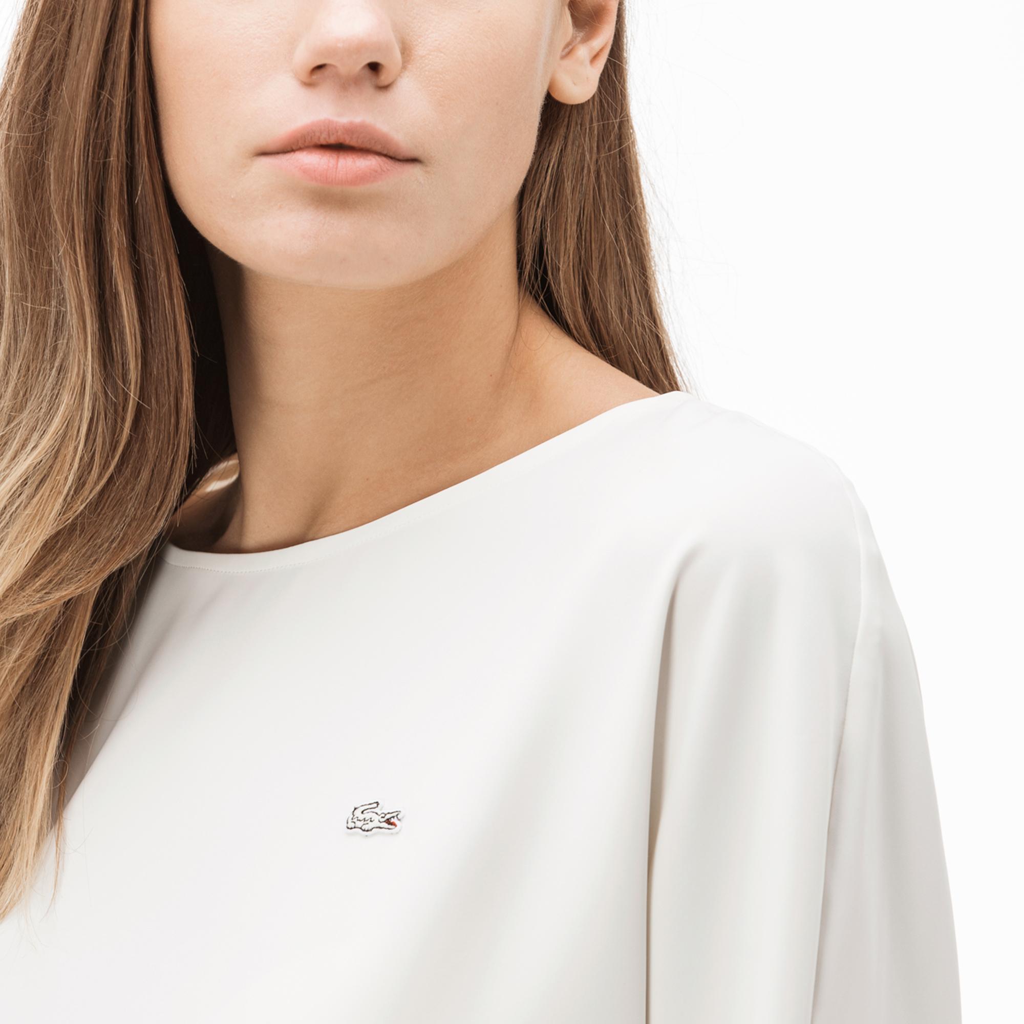 Lacoste Kadın Kayık Yaka Truvakar Kollu Bej Bluz