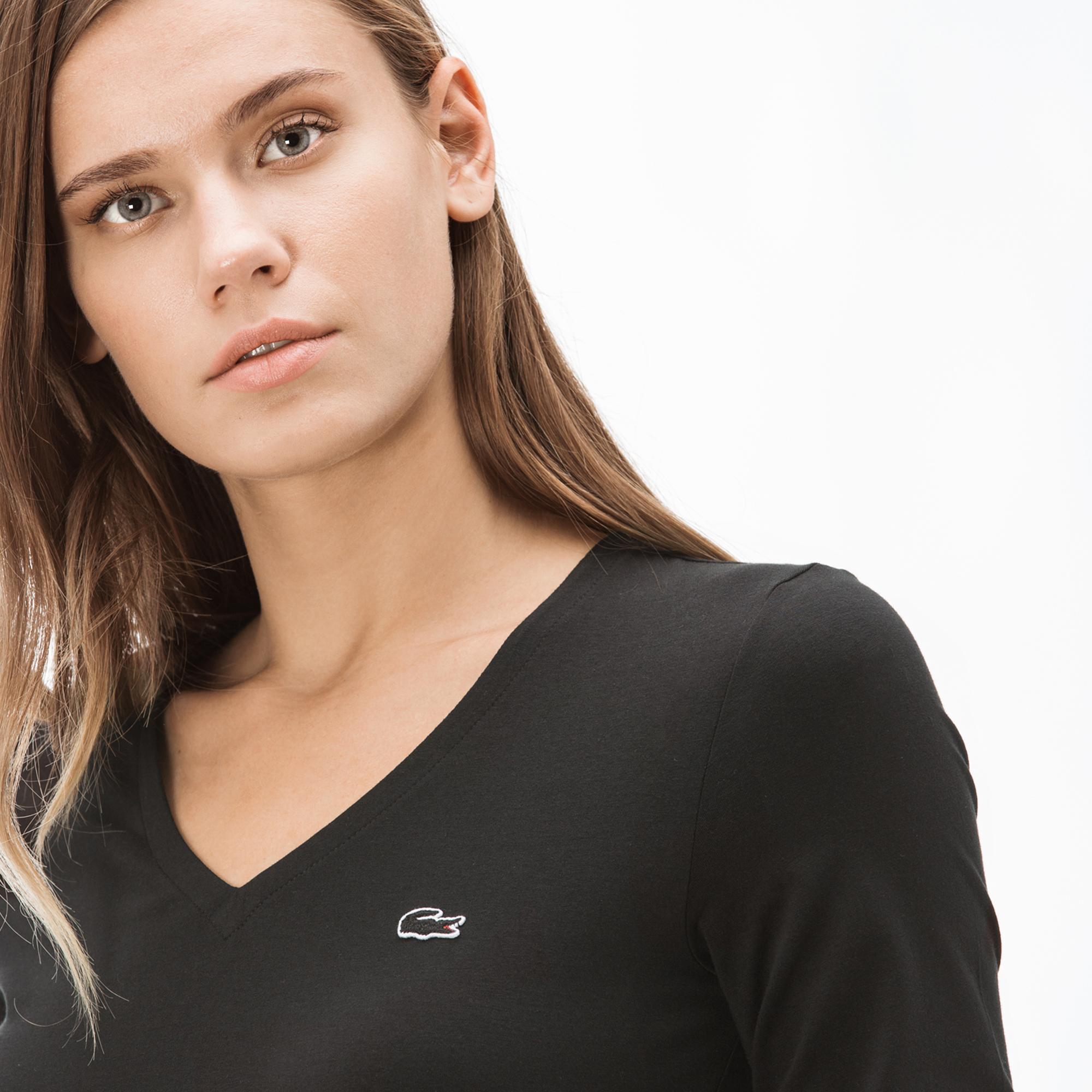 Lacoste Kadın V Yaka Siyah Uzun Kollu T-Shirt