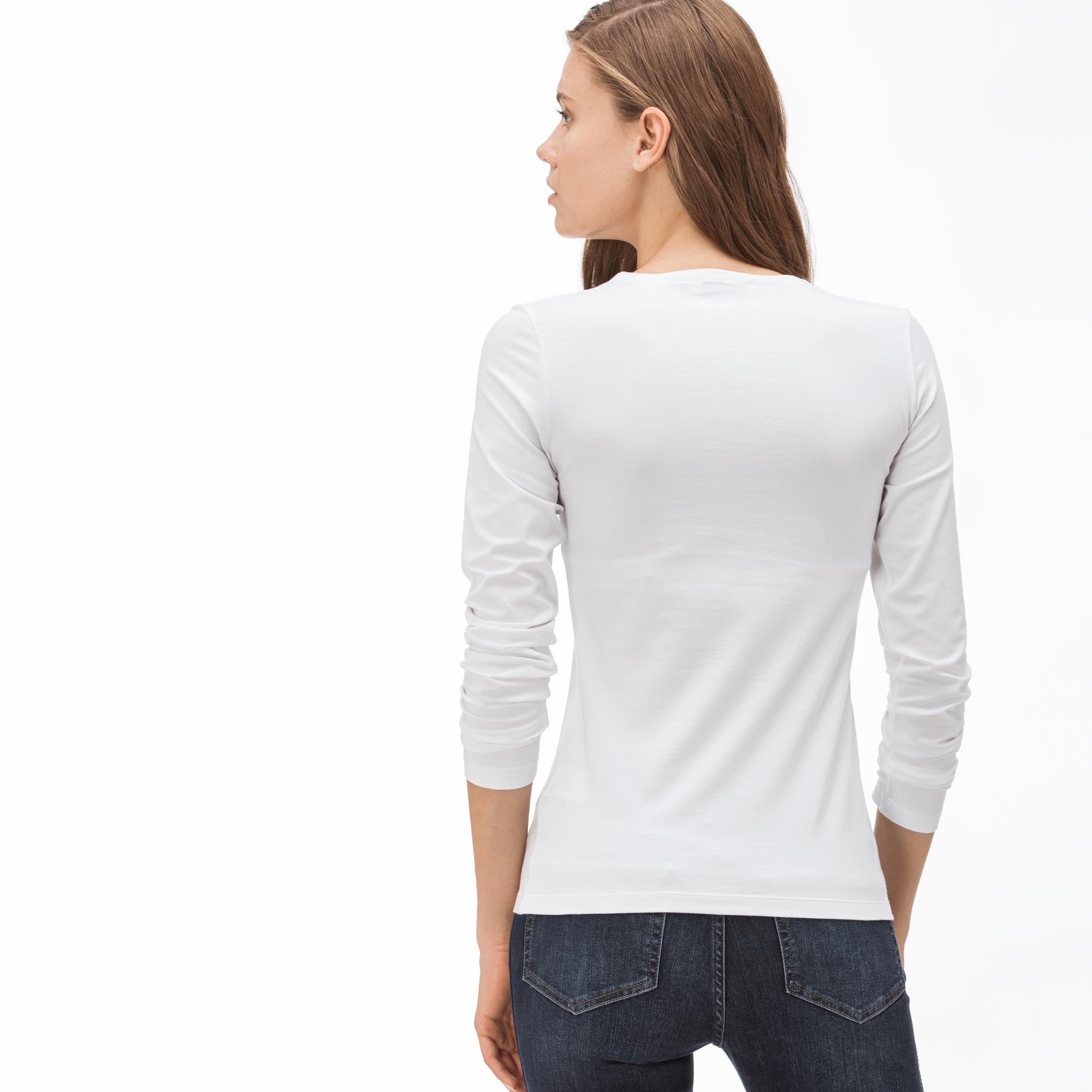 Lacoste Kadın V Yaka Uzun Kollu Beyaz T-Shirt
