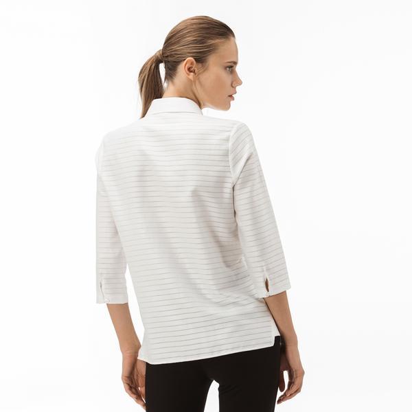 Lacoste Kadın Çizgili Bej Gömlek