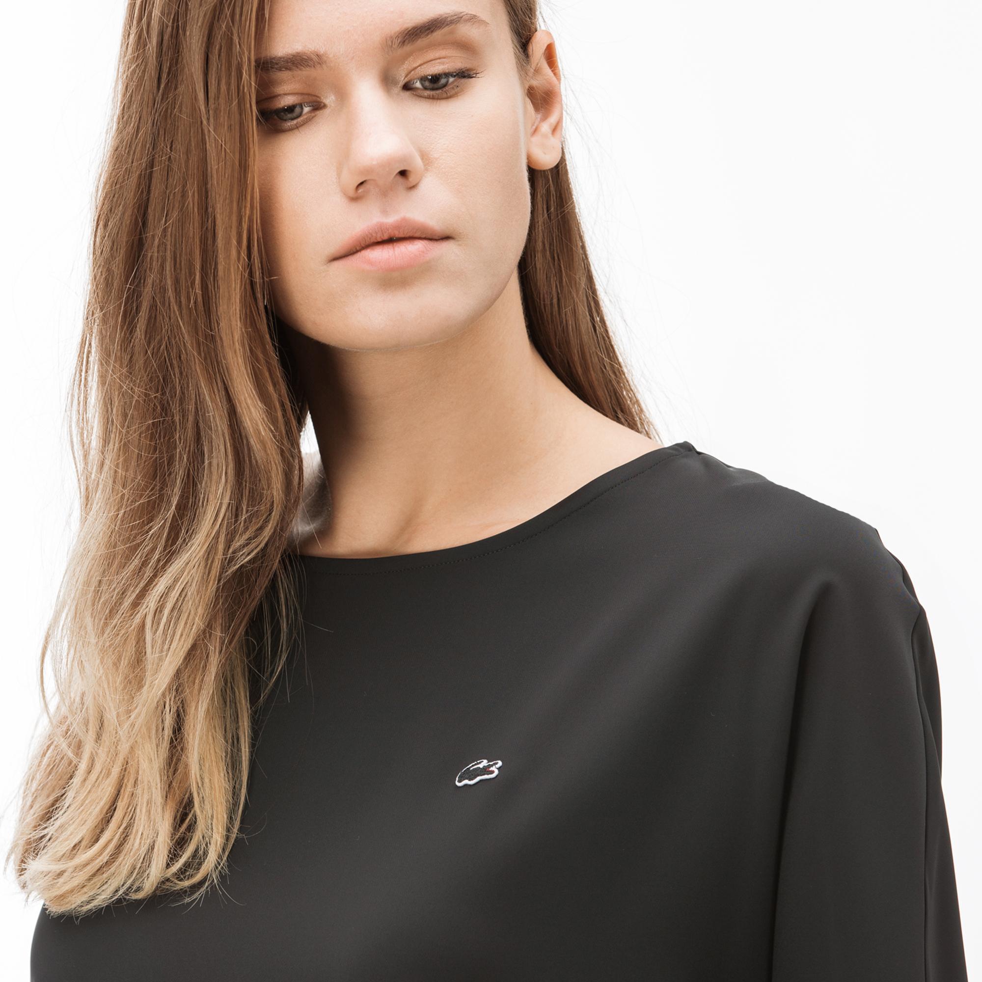 Lacoste Kadın Kayık Yaka Truvakar Kollu Koyu Gri Bluz