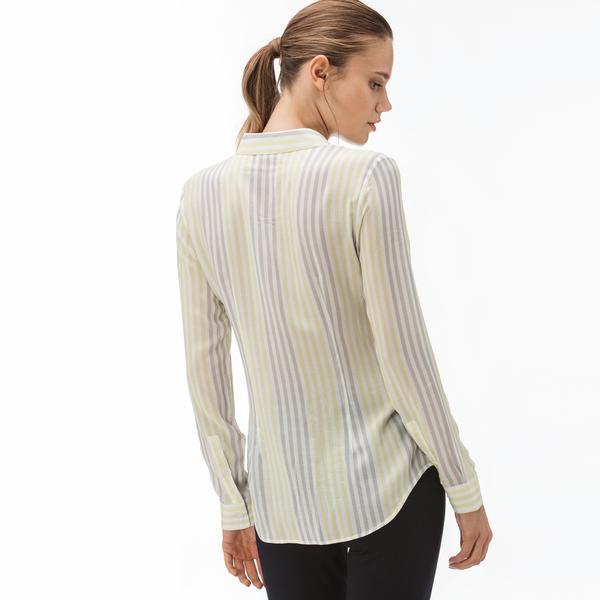 Lacoste Kadın Çizgili Sarı Gömlek