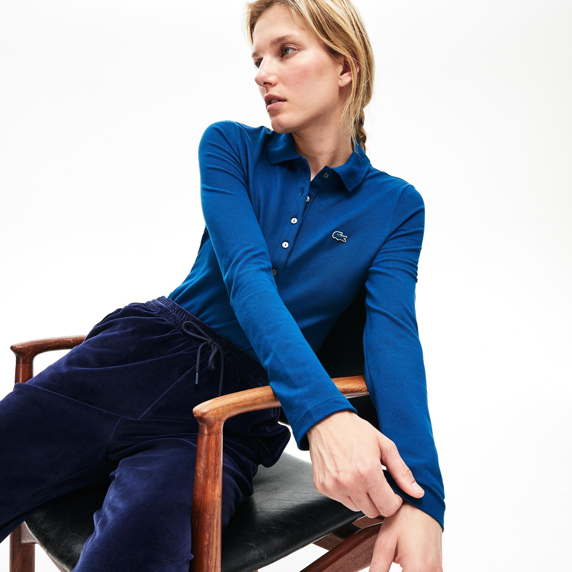 Lacoste Kadın Slim Fit Uzun Kollu Mavi Polo