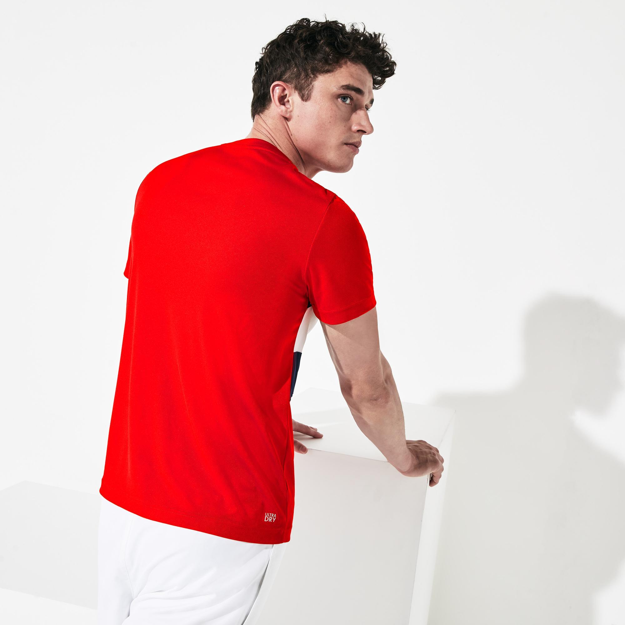 Lacoste Erkek Blok Desenli Lacoste Baskılı Kırmızı T-Shirt