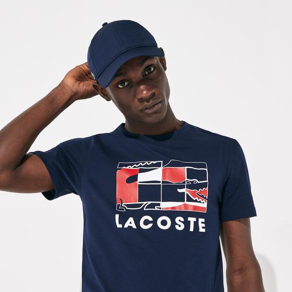 Lacoste Sport Erkek Lacoste Baskılı Lacivert T-Shirt