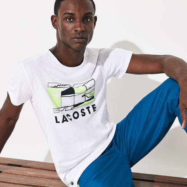 Lacoste Sport Erkek Beyaz Lacoste Baskılı Desenli T-Shirt