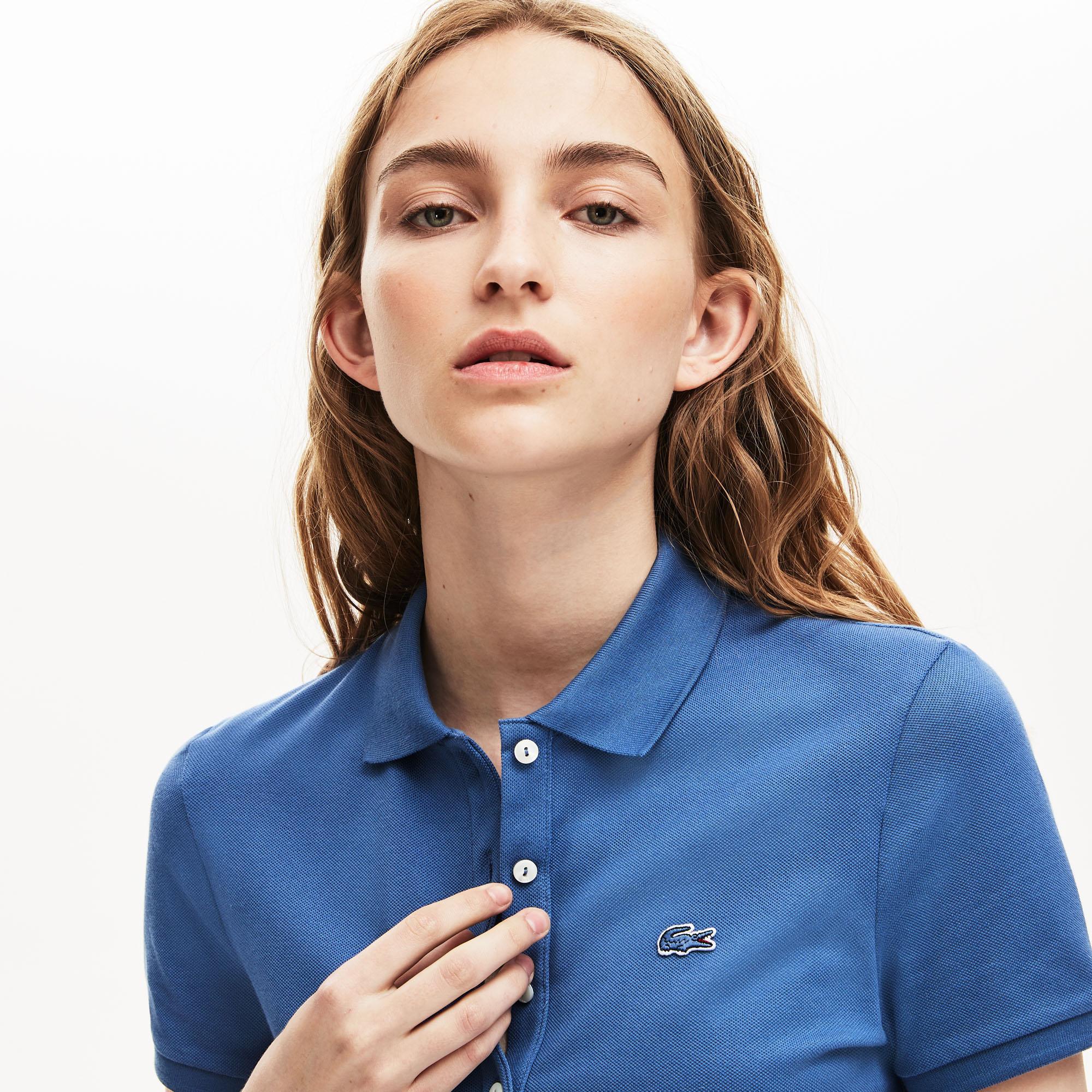 Lacoste Kadın Slim Fit Mavi Polo