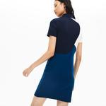 Lacoste Kadın Blok Desenli Mavi Elbise