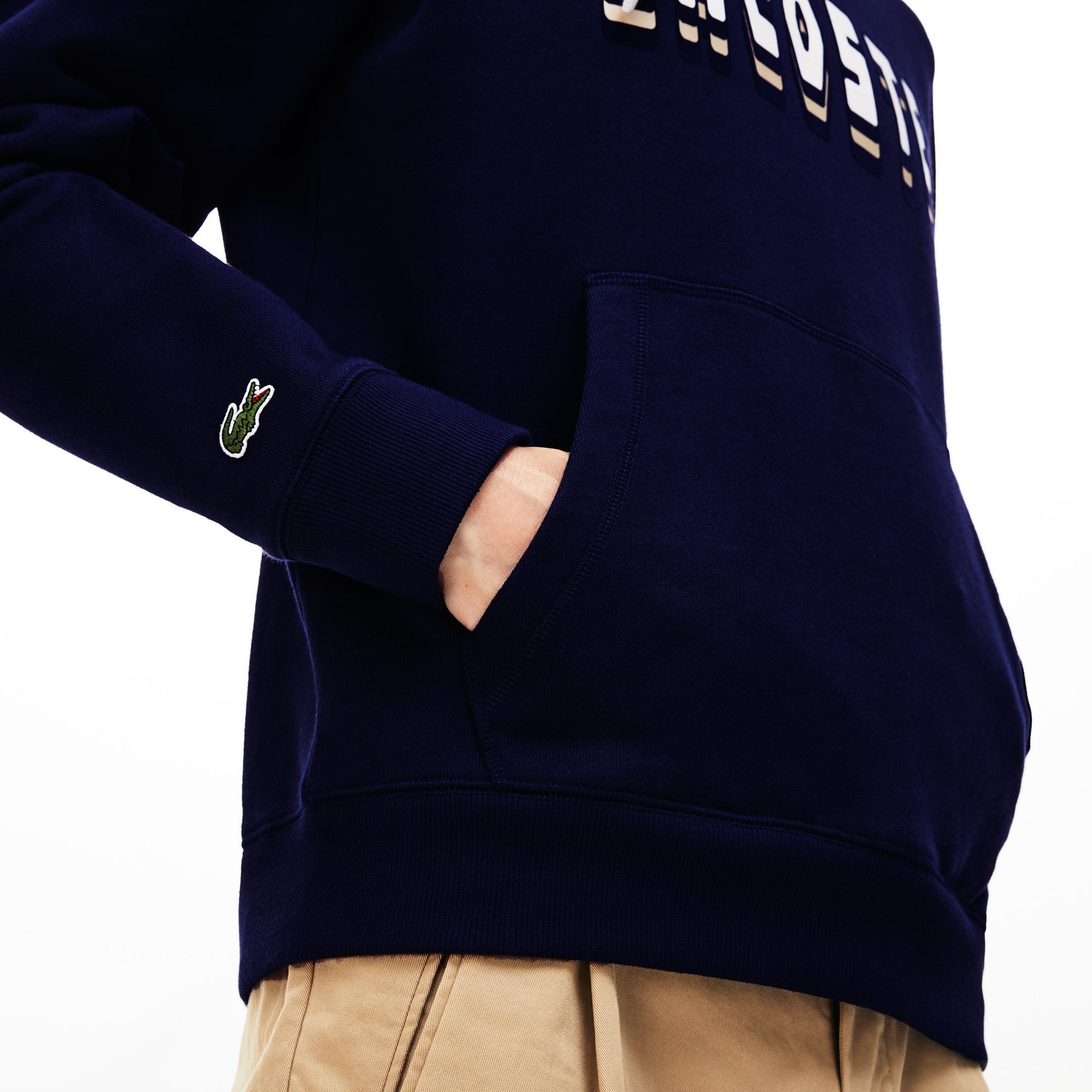 Lacoste Erkek Lacoste Baskılı Kapüşonlu Lacivert Sweatshirt