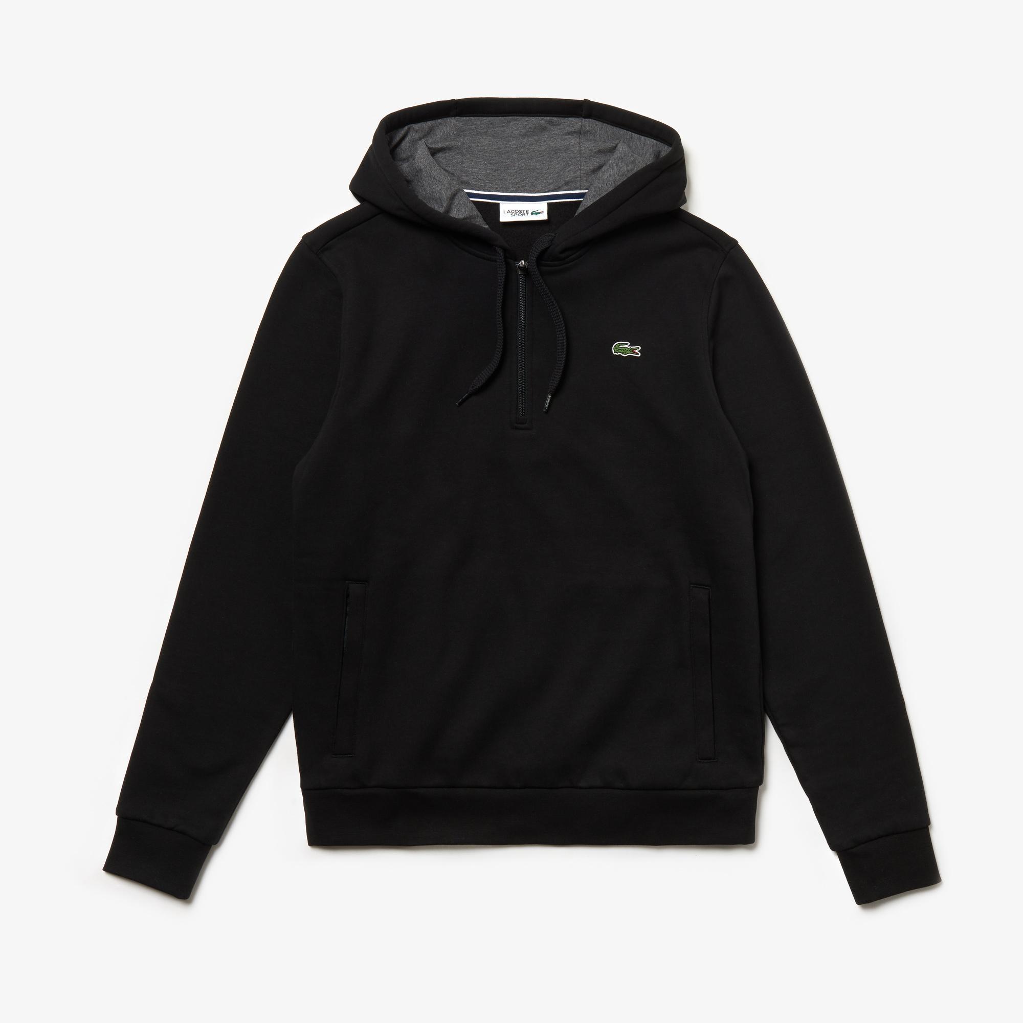 Lacoste Sport Erkek Kapüşonlu Siyah Sweatshirt