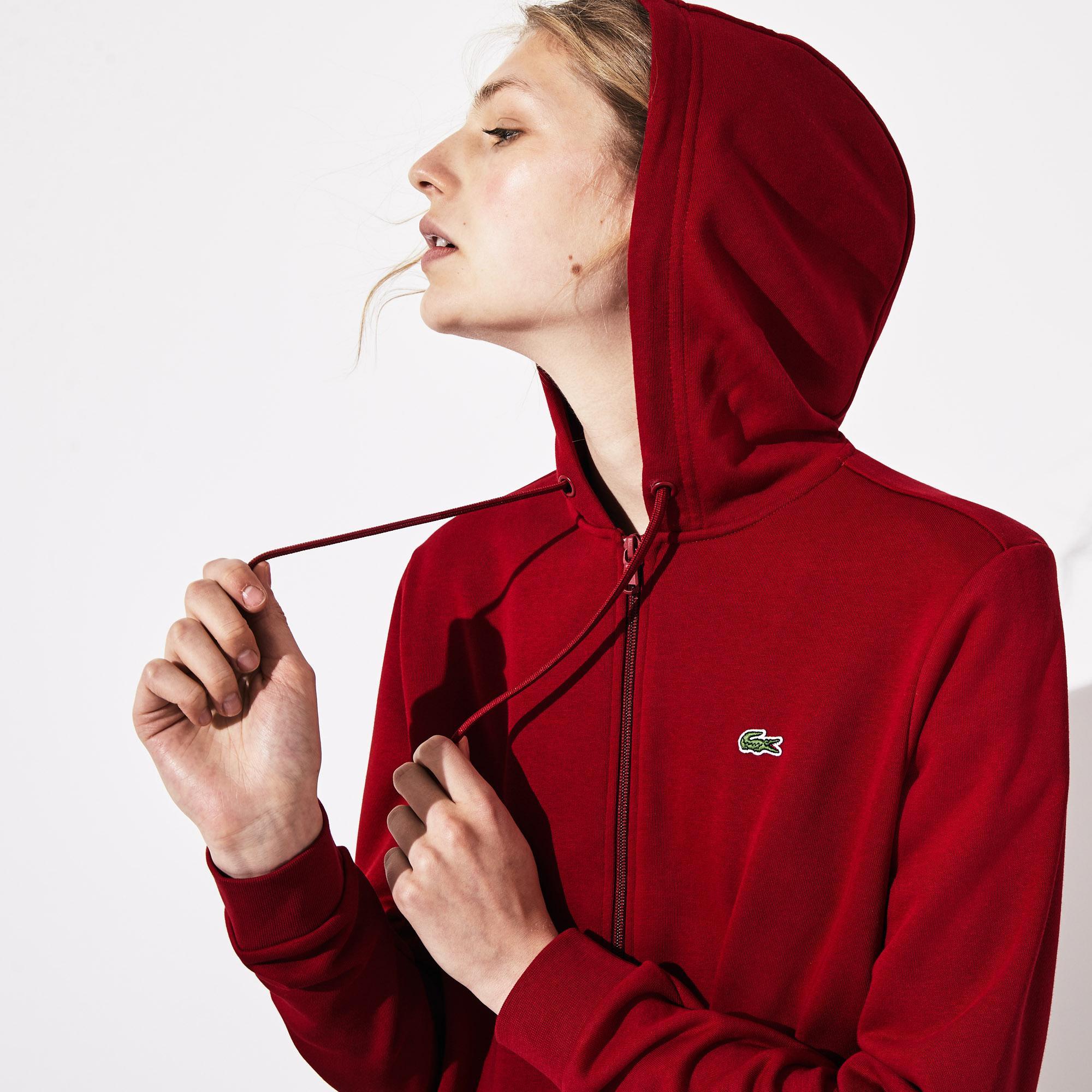 Lacoste Sport Kadın Kapüşonlu Bordo Sweatshirt