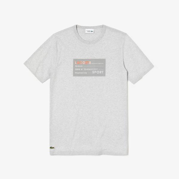 Lacoste Sport Erkek Lacoste Baskılı Gri T-Shirt