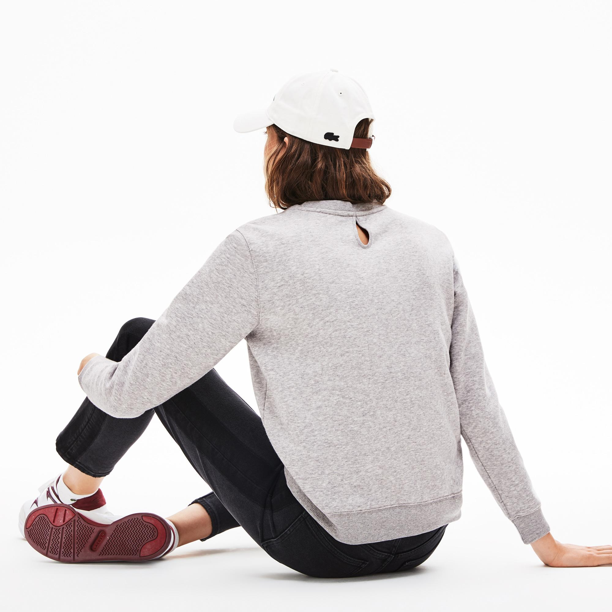 Lacoste L!VE Kadın Regular Fit Bisiklet Yaka Gri Sweatshirt