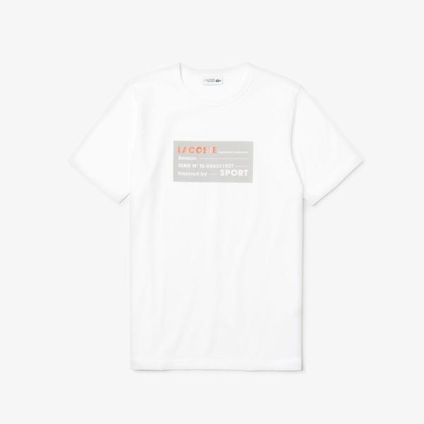 Lacoste Sport Erkek Lacoste Baskılı Beyaz T-Shirt
