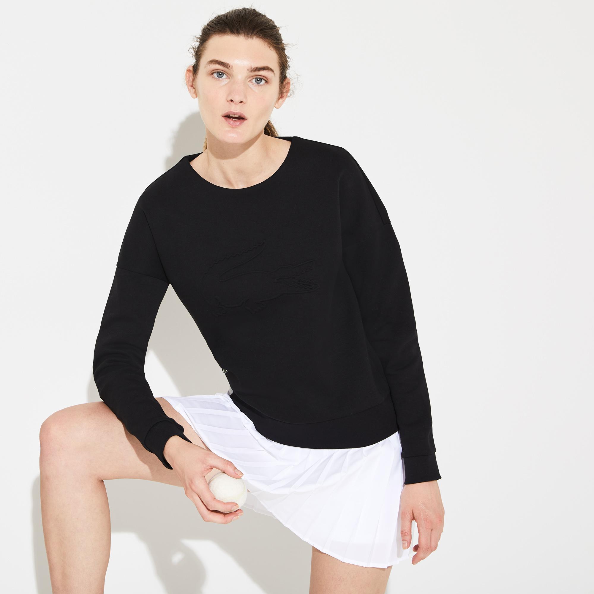 Lacoste Sport Kadın Baskılı Bisiklet Yaka Siyah Sweatshirt
