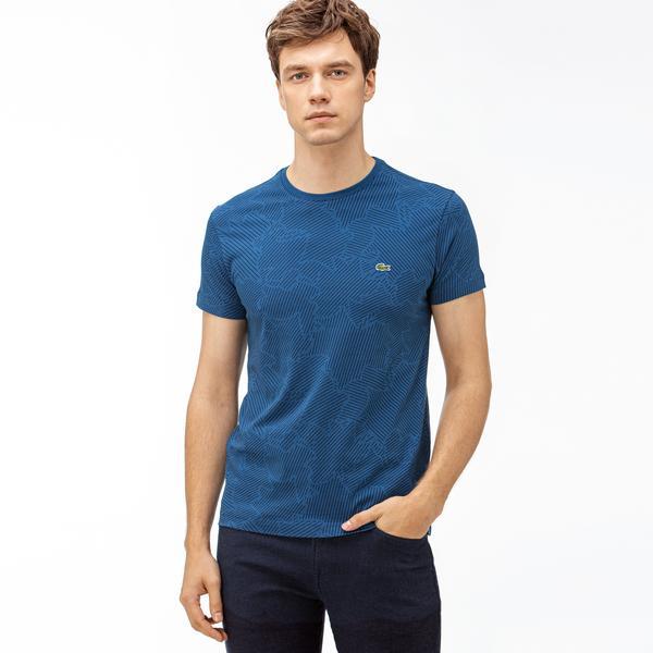 Lacoste Erkek Mavi Desenli T-Shirt