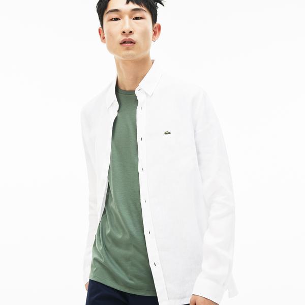 Lacoste Erkek Regular Fit Keten Beyaz Gömlek