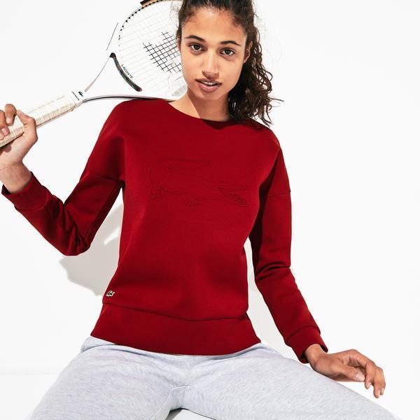 Lacoste Sport Kadın Baskılı Bisiklet Yaka Bordo Sweatshirt