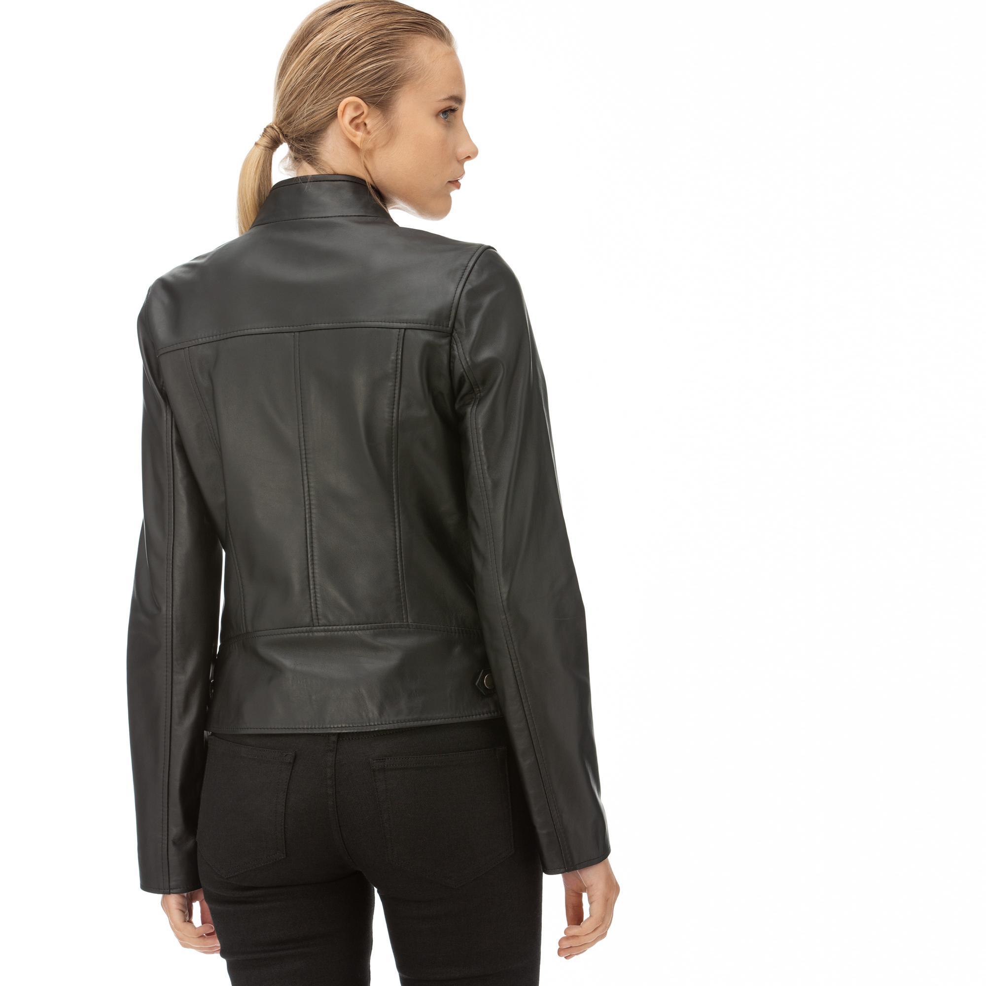 Lacoste Kadın Siyah Deri Ceket