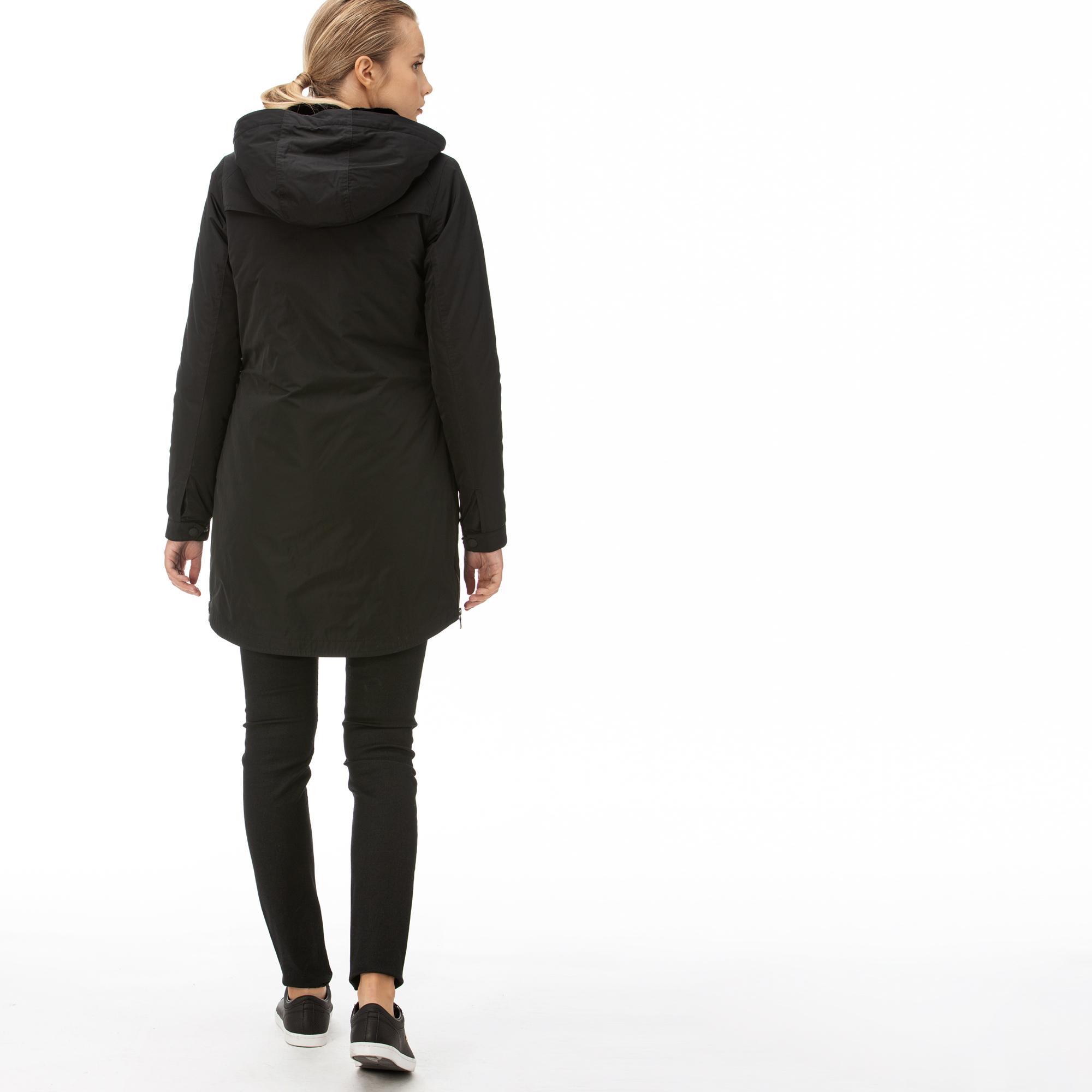 Lacoste Kadın Çift Kullanımlı Kürk Detaylı Siyah Mont