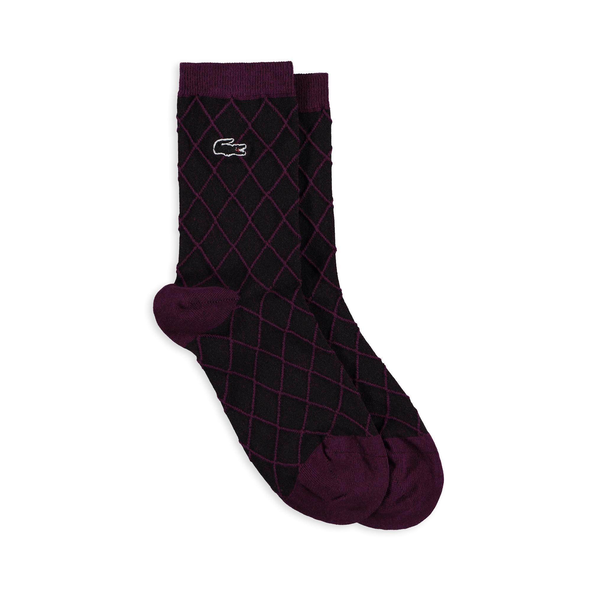 Lacoste Unisex Çizgili Mor Çorap