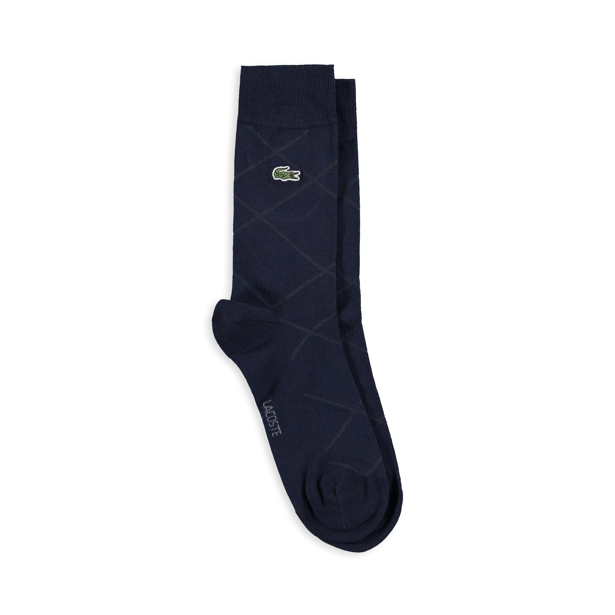 Lacoste Unisex Çizgili Lacivert Çorap
