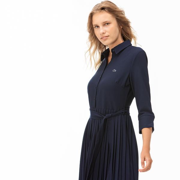 Lacoste Kadın Truvakar Kollu Lacivert Elbise