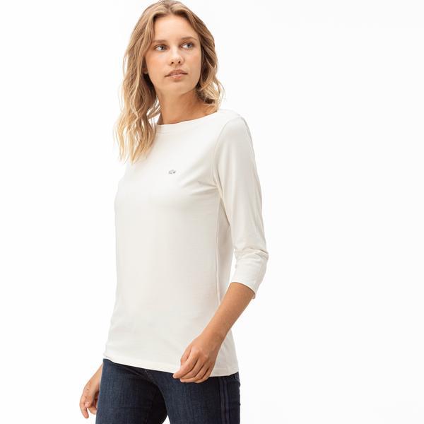 Lacoste Kadın Bej Truvakar Kollu T-Shirt