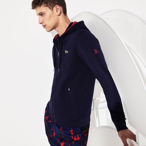 Lacoste Novak Djokovic Erkek Timsah Baskılı Kapüşonlu Lacivert Sweatshirt