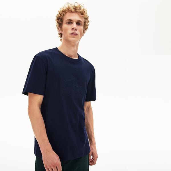 Lacoste Erkek Regular Fit Lacivert Timsah Baskılı T-Shirt