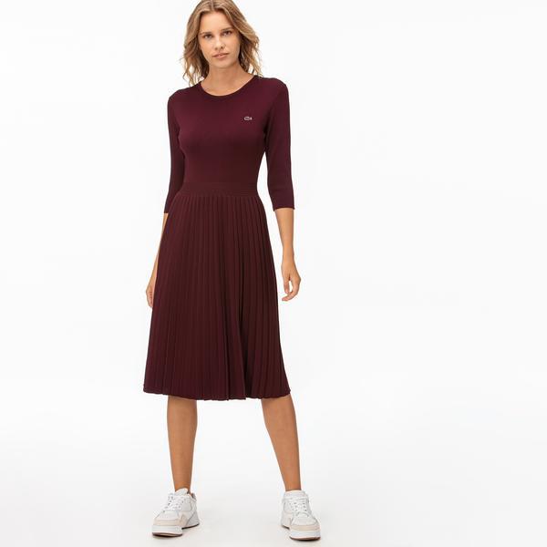 Lacoste Kadın Truvakar Kollu Bordo Elbise