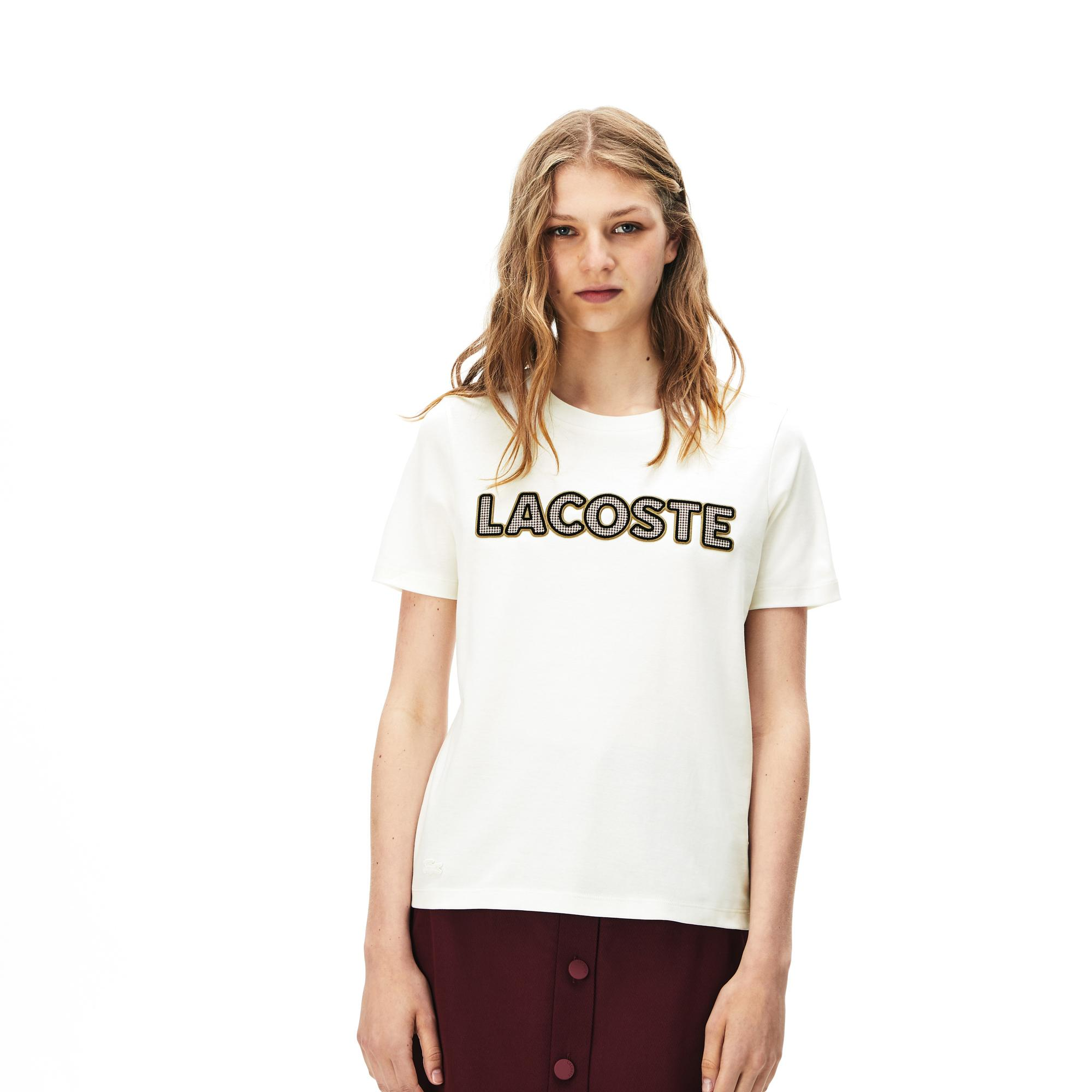 Lacoste Kadın Baskılı Beyaz T-Shirt