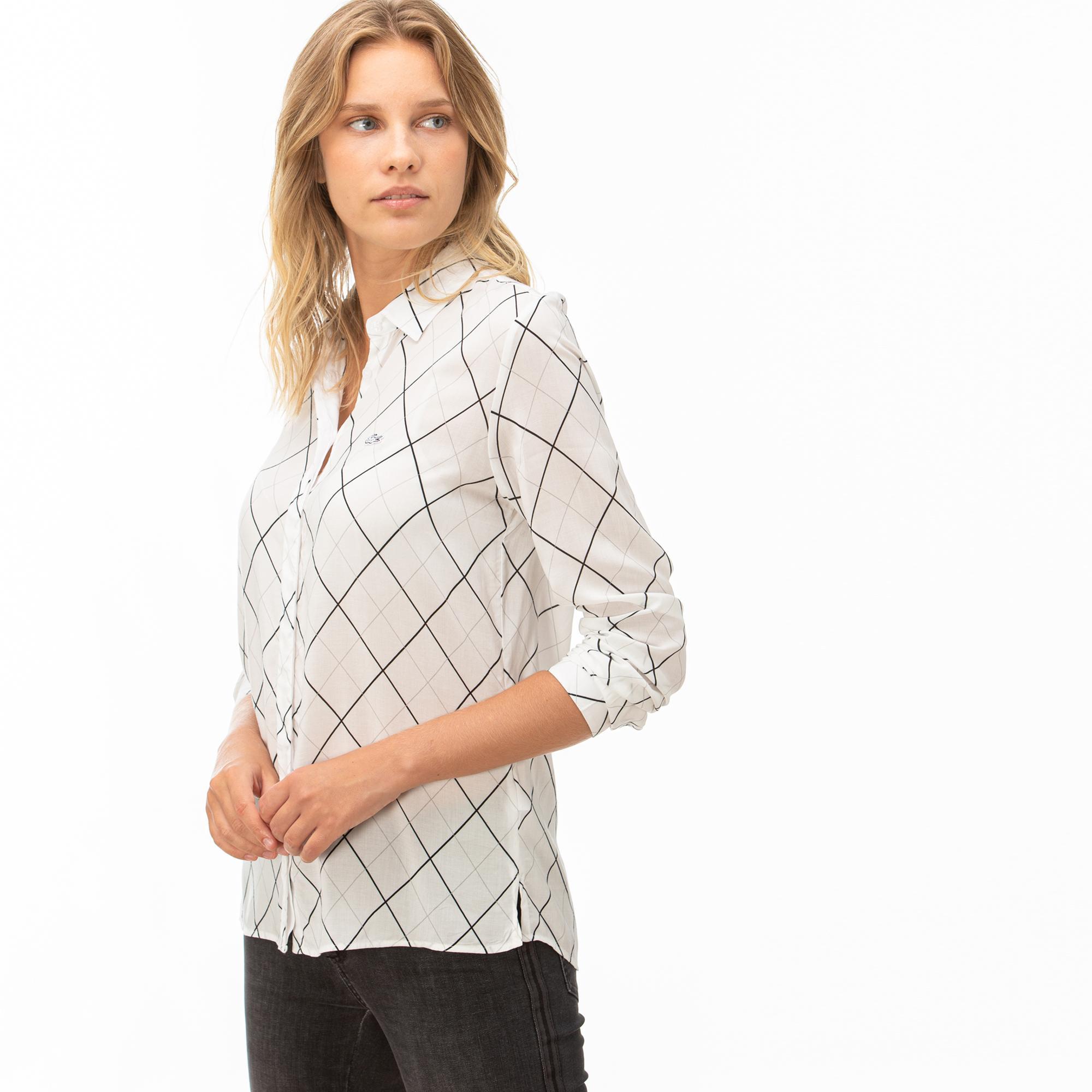 Lacoste Kadın Çizgili Beyaz Gömlek