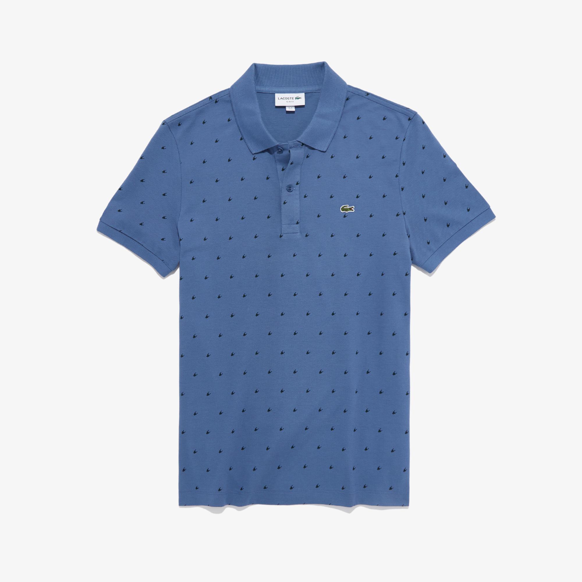 Lacoste Erkek Slim Fit Baskılı Mavi Polo